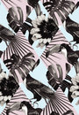 Tropical black and white patchwork seamless background