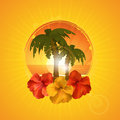 Tropical border background with hibiscus flowers and palm trees on an orange starburst Royalty Free Stock Photography