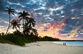 Tropical Caribbean Sand Beach Paradise at Sunset