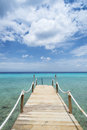 Tropical caribean beach pier curacao at kokomo at vaersenbaai Stock Photos