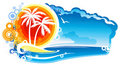 Tropical Coastline Emblem Stock Image
