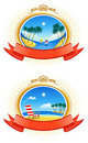 Tropical Coastline Emblems Stock Photos