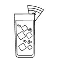 tropical cocktail glass isolated icon