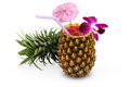Tropical cocktail in pineapple Royalty Free Stock Photo