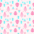 Tropical cocktail seamless pattern with palm leaves, watermelon and lemons. Royalty Free Stock Photo