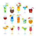Tropical cocktails, juice, wine and champagne glass set. Vector hand drawn doodle illustration.