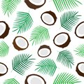 Tropical coconut seamless pattern vector