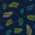 Tropical colorful palm leaves on the dark blue background. Vector trendy seamless pattern. Royalty Free Stock Photo