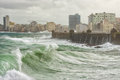 Tropical cyclone in havana with huge waves hitting the sea wall Stock Photography