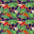Tropical design: exotic leaves, flamingos, orchid flowers. Seamless pattern. Watercolor Royalty Free Stock Photo