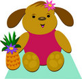 Tropical Dog with a Pineapple Royalty Free Stock Images