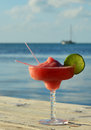 Tropical drink at seashore Royalty Free Stock Photo