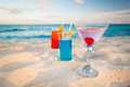Tropical drinks on Caribbean beach Stock Photos
