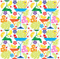 Tropical drinks flowers and fruit fancy with ice cubes leaves cherries slices seamless pattern background vector available Royalty Free Stock Photos