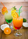 Tropical drinks in the glass close up Royalty Free Stock Images