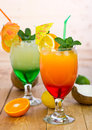 Tropical drinks in the glass close up Stock Photo