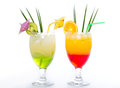 Tropical drinks in the glass on white Stock Photography
