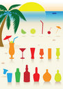 Tropical drinks set. Royalty Free Stock Photos