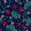 Tropical embroidery lush floral design in a seamless pattern Royalty Free Stock Photo