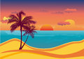 Tropical exotic beach sunset background Royalty Free Stock Image