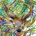 Tropical exotic forest, deer, green leaves, wildlife, watercolor illustration.