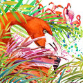 Tropical exotic forest green leaves wildlife bird flamingo watercolor illustration watercolor background unusual exotic nature Royalty Free Stock Image
