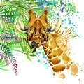 Tropical exotic forest, green leaves, wildlife, giraffe, watercolor illustration. watercolor background unusual exotic nature