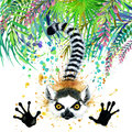 Tropical exotic forest, green leaves, wildlife, lemur, watercolor illustration. watercolor background unusual exotic nature