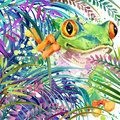 Tropical exotic forest, tropical frog, green leaves, wildlife, watercolor illustration.