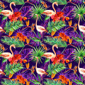 Tropical exotic leaves, orchid flowers, neon light. Seamless pattern. Watercolor Royalty Free Stock Photo