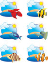 Tropical fish icons Royalty Free Stock Image