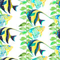Tropical fish pattern. Seamless vector art.