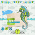 Tropical fish and sea horse theme scrapbook design element in Stock Photography