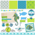 Tropical fish and sea horse theme scrapbook design element in Royalty Free Stock Image