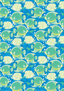 Tropical fish vector illustration of in a repeat pattern Royalty Free Stock Photography