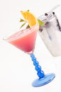 Tropical Fizz Champagne Cocktail and a cocktail shaker vertical Stock Photos