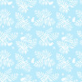 Tropical floral pattern vector seamless with leafs inspired by nature and plants like palm trees and ferns in soft blue and white Royalty Free Stock Photos