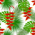 Tropical floral plants seamless pattern with heliconia flower