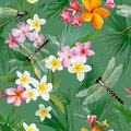 Tropical Floral Seamless Pattern with Dragonflies. Botanical Background with Palm Tree Leaves and Exotic Flowers Royalty Free Stock Photo