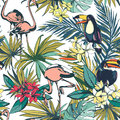 Tropical floral summer seamless pattern with palm beach leaves,