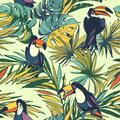 Tropical floral summer seamless pattern with palm beach leaves a