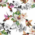 stock image of  Tropical floral watercolor seamless pattern with colibris and flowers. Watercolor painting.