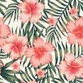 Hibiscus pink palm leaves dark green pattern Royalty Free Stock Photo