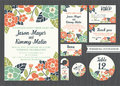 Tropical flower wedding invitation vintage design