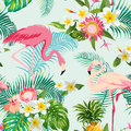 Tropical Flowers and Birds Background. Vintage Seamless Pattern. Royalty Free Stock Photo
