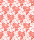 Tropical flowers in coral, seamless vector pattern for a fresh summer mood