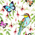 Tropical flowers, exotic bird and bright butterflies. Seamless floral pattern. Watercolour Royalty Free Stock Photo