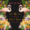 Tropical Flowers. Flamingo Bird. Save the Date. Tropical Card