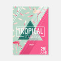 Tropical Flowers and Flamingo Bird Summer Graphic Background, Exotic Floral Banner or Card