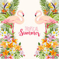 Tropical Flowers. Flamingo Bird. Tropical Background